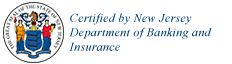 Certified by New Jersey Department of Banking and Insurance